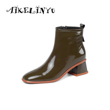 AIKELINYU 2019 Womens Genuine Leather Shoes Heels Block Women Zip Ankle Boots black Fashion Winter Female Chelsea