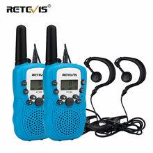 Mini rádio em dois sentidos 2 pçs retevis rt388 crianças walkie talkie pmr446 pmr handy crianças woki toki + 2pcs fone de ouvido presente de natal