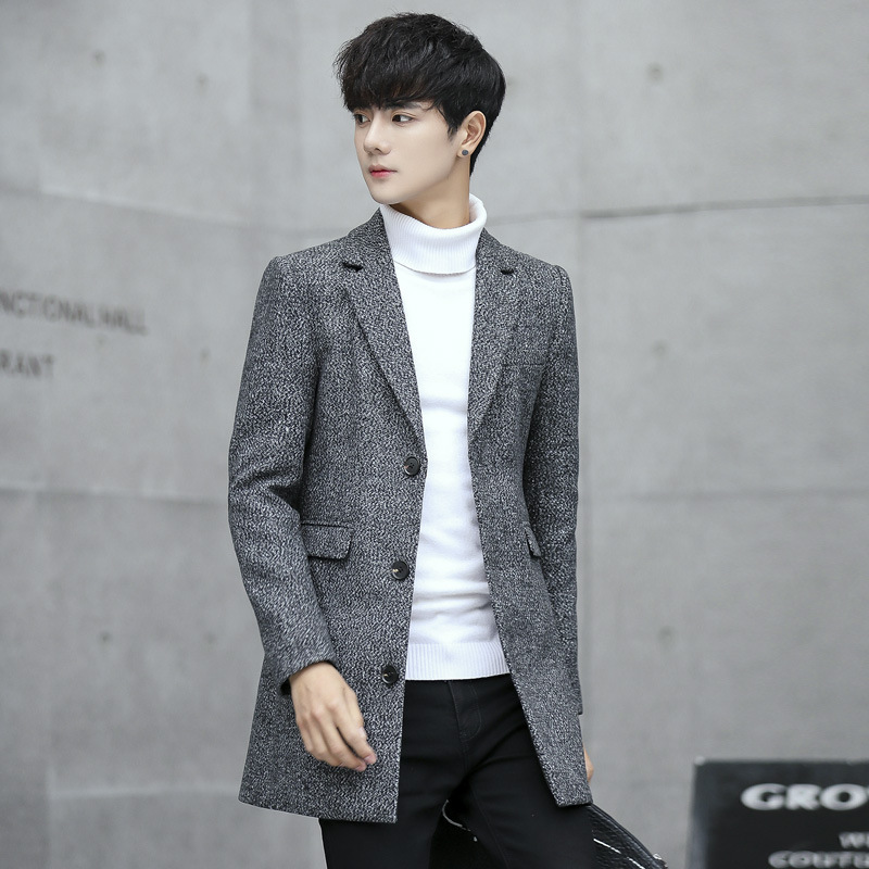 New Style Men Korean-style Slim Fit Trench Coat Men's Woolen Duffle Coat Suit Collar Casual Simple Fashion Coat Men's
