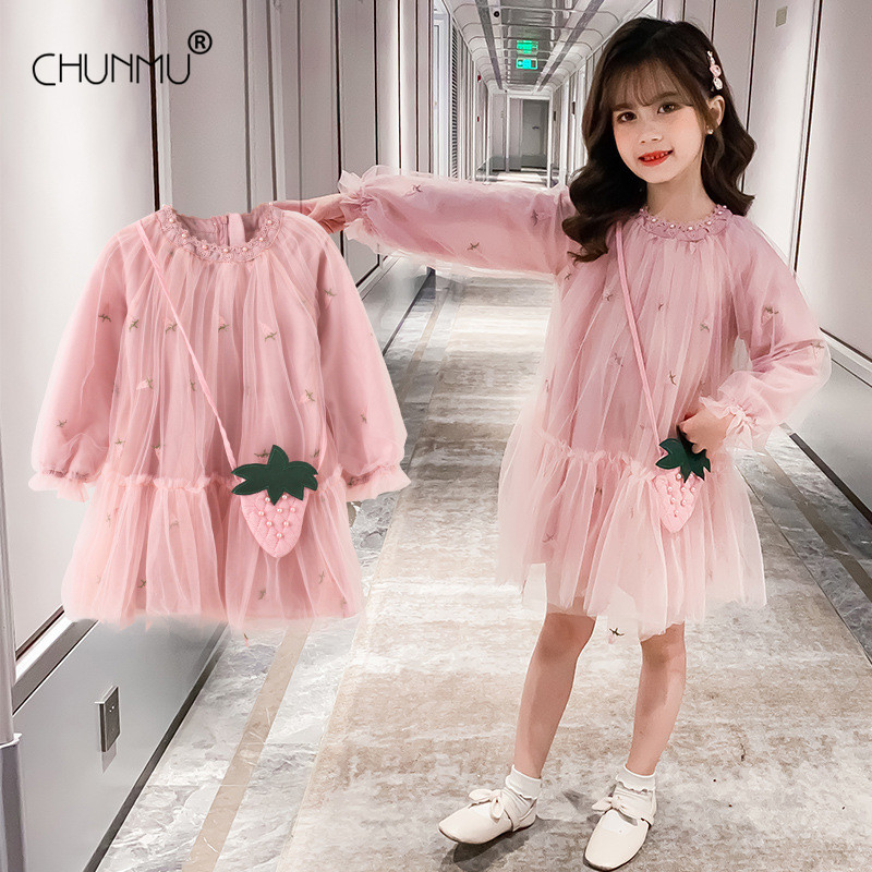 Autumn Kids Vestidos Long Sleeve Beads Flower Baby Girls Dress Party Ceremony Clothing Lace Tutu Casual Wear Girls Dress 1