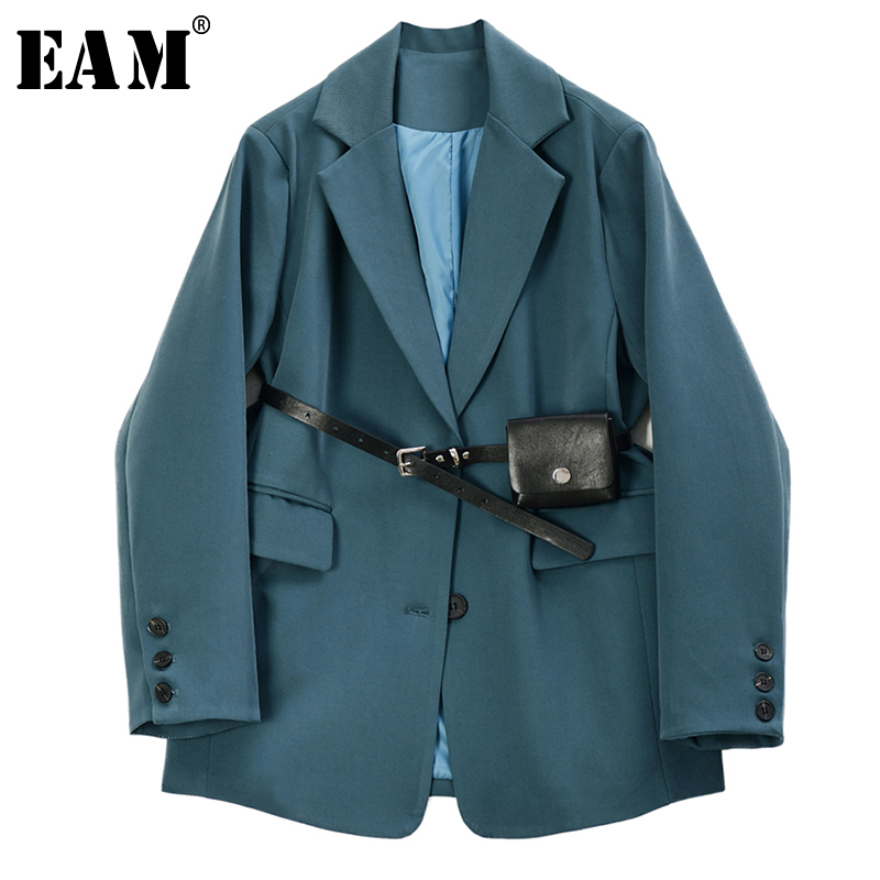 [EAM]  Women Blue Split Joint Temperament Blazer New Lapel Long Sleeve Loose Fit  Jacket Fashion Tide Spring Autumn 2020 1R725