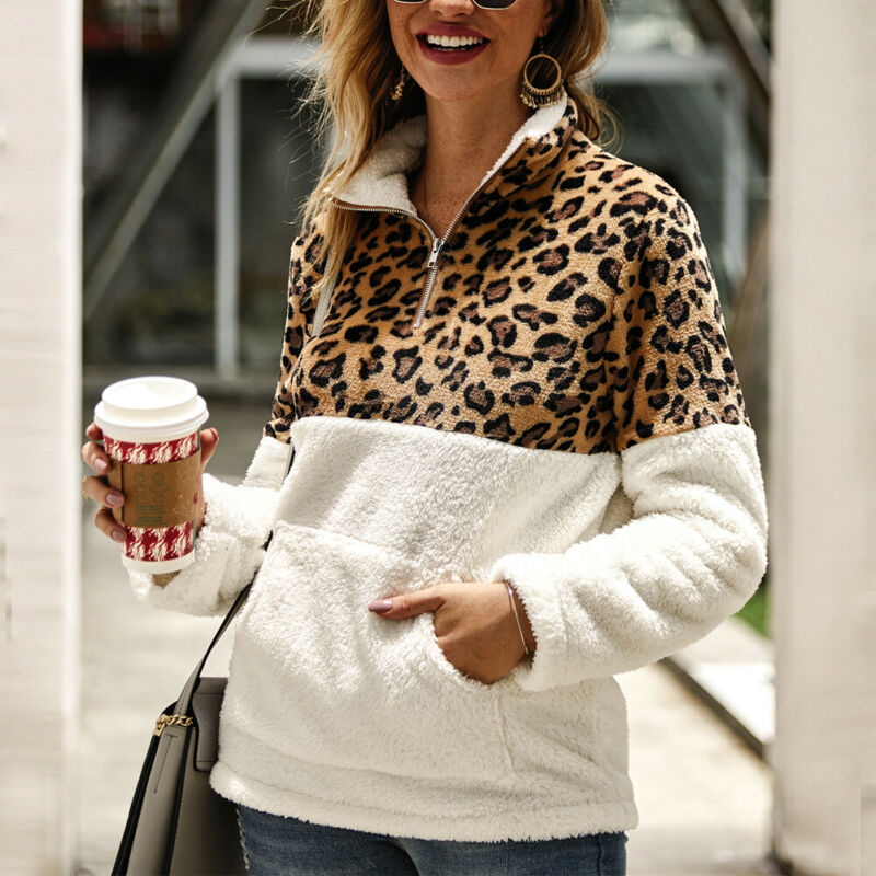 Womens Leopard Fleece Sweater Patchwork Fluffy Thick Sweaters Zipper Pullovers Women Winter Casual Warm Coat Sherpa Tops