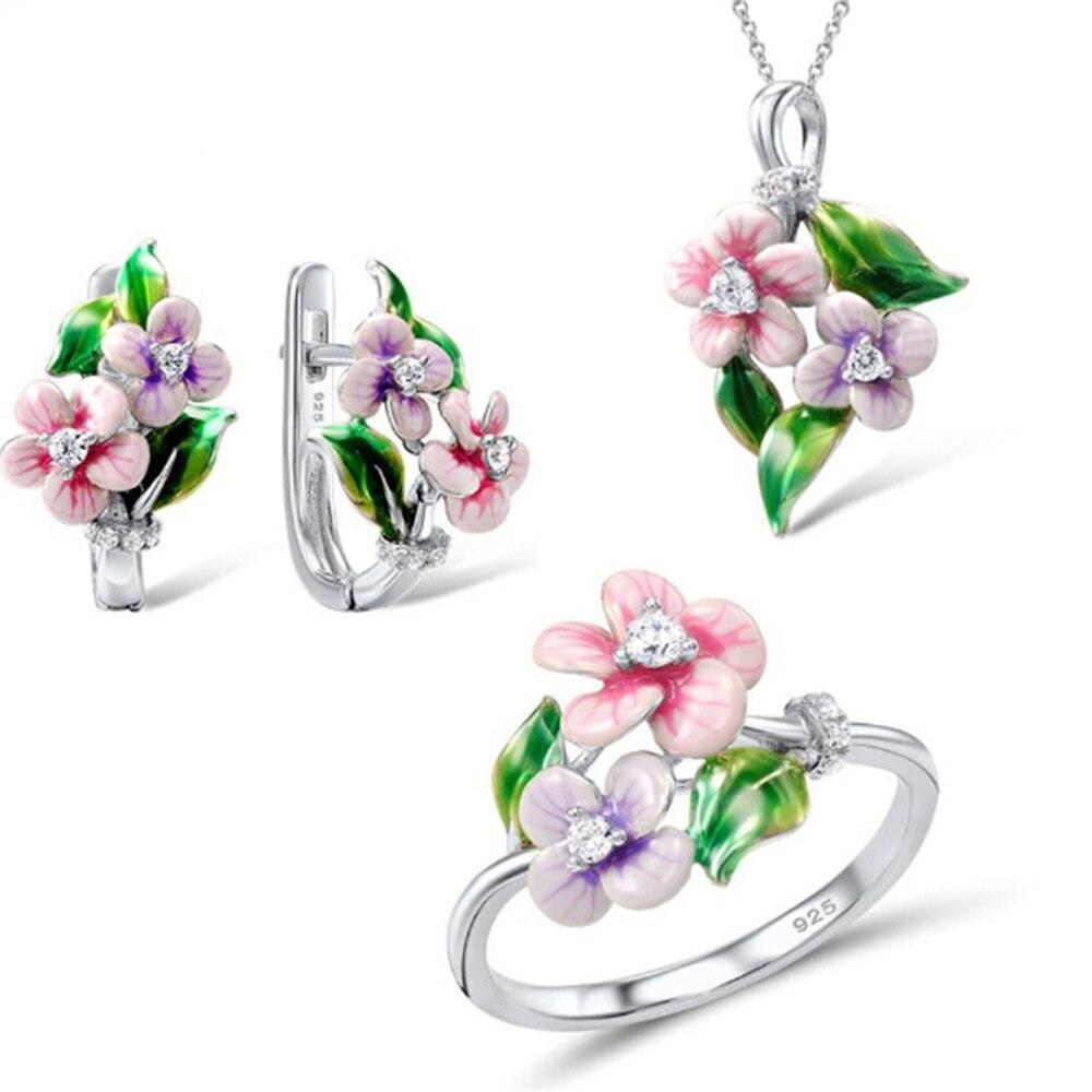 Ensemble de bijoux pour femmes 925 en argent Sterling délicat rose fleur anneau boucles d'oreilles pendentif bijoux de mode émail à la main