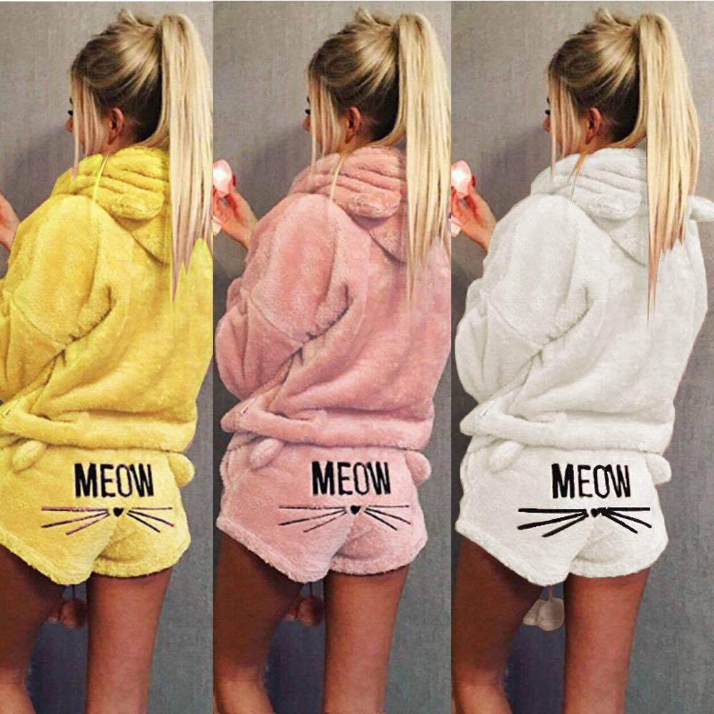 Sports Suit Female Women Tracksuit Plus Size 5XL Winter Warm Pajamas Two Piece Set Sleepwear Cute Cat Meow Pattern Hoodies