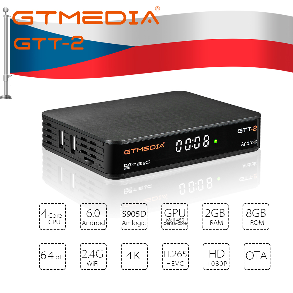 GTMEDIA GTT2 Smart <font><b>tv</b></font> <font><b>box</b></font> <font><b>DVB</b></font>-<font><b>T2</b></font>/Cable(J83.A/C)/ATSC-C/ISDBT 2GB 8GB Bluetooth Netflix 4K H.265 WiFi IPTV <font><b>Android</b></font> <font><b>tv</b></font> set top <font><b>box</b></font> image