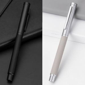 Image 4 - Novo clássico de luxo 0.5mm preto f nib caneta caneta cheia metal clipe canetas para assinatura negócios escrita material escritório da escola