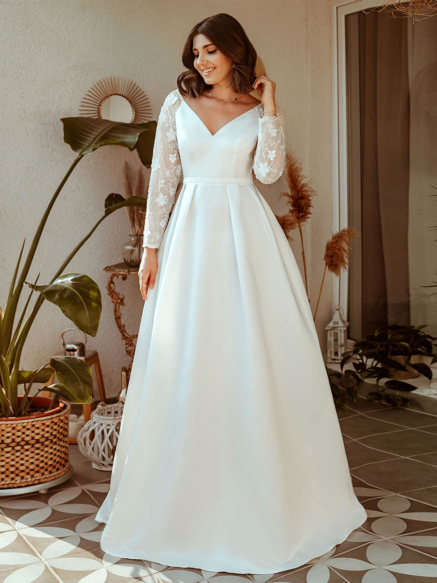 Wedding-Dresses Ever Pretty Bride Long-Sleeve Illusion Elegant Robe-De-Mariee Lace V-Neck