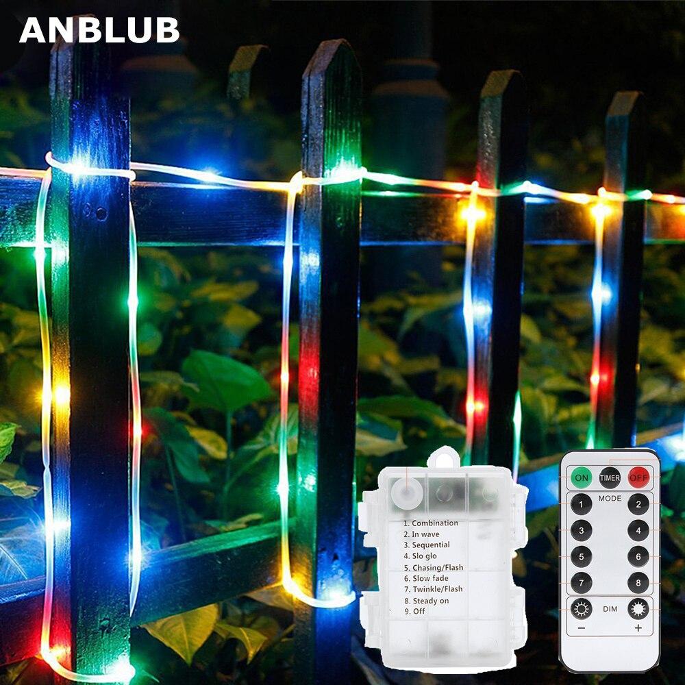 Светодиодный гирлянда, многоцветная, 5 м, 10 м, 100/200 светодиодный, 8 режимов, водонепроницаемая, с дистанционным таймером, для уличного и рождественского декора|Светодиодная лента|   | АлиЭкспресс