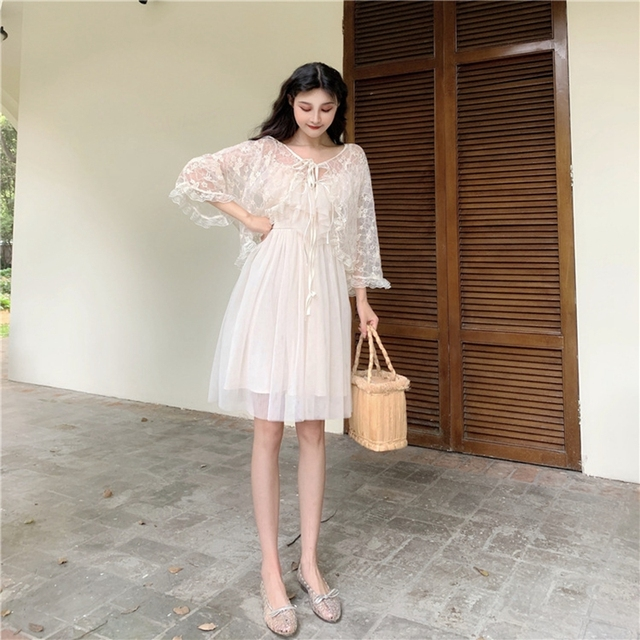 Women dress Actual Photo Of Long Sling Dress With Lace Sunscreen In Soft Yarn In Summer Of Piece Set Women Sleeveless Dress 2