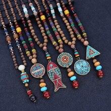Винтажный непальский длинный буддийский деревянный кулон и ожерелье из бисера этнический богемный Бохо СЛОН БУДДА счастливое ювелирное из...