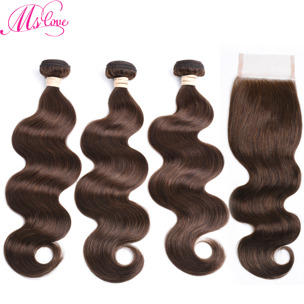 Brown Bundles With Closure Brazilian Body Wave Human Hair 3 Bundles With Closure 2# 4# 1# Dark Light Brown And Jet Black Mslove