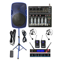 STARAUDIO 15 Active 3500W PA Powered DJ Speaker Stage Stand 2CH UHF Headset Wireless Mic 6CH BT MP3 USB Mixer System SSBM 15