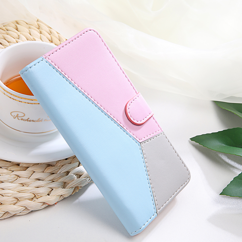 Tri-color Splicing Flip Holster for <font><b>Samsung</b></font> Galaxy Note <font><b>10</b></font> S10 S9 S8 Plus Lite S7 Edge Luxury Wallet Card Stand Phone 360 <font><b>Case</b></font> image