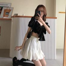White Slimming Puffy A- line Dress Women's Younger Skirt Summer Korean Style Versatile High Waist Skirt Student Dress