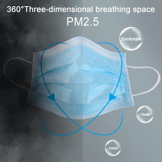 50pcs/100pcs Disposable Masks Anti-fog Dust Mask Blue Nonwove 3 Layer Ply Filter Mouth Mask PM2.5 Protective Face Mask 1
