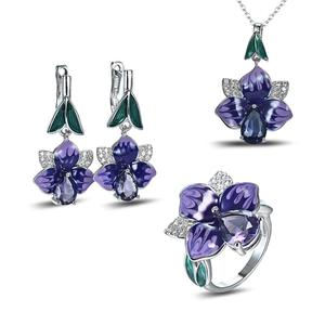 925 Silver Cloisonne Blue Deep Purple Flower Enamel Hanging Necklace Earrings Jewelry Set(China)
