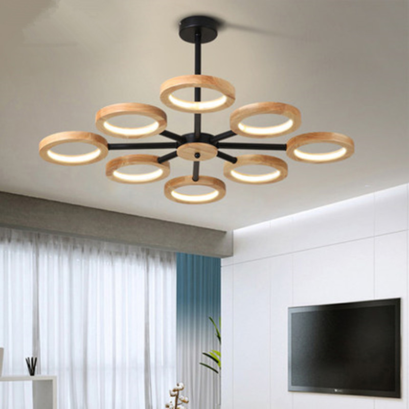 Modern LED Wooden Chandelier Lighting For Living Room Bedroom Tricolor Light Chandeliers Ceiling Nordic Lustre Art Deco Lustres