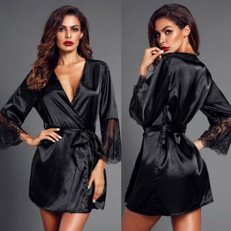 2020 New Sexy Satin Silk Lace Nightwear Gown Sleepwear Lingerie Summer Women  Robes Kimono Bathrobe Drop Shipping