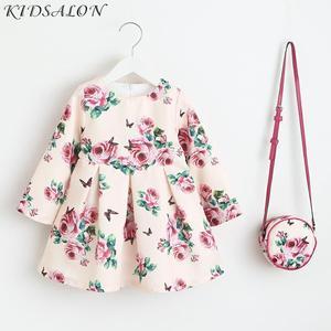 Image 1 - 여자 드레스 유니콘 파티 어린이 의류 공주 드레스 가방 2018 아기 옷 키즈 꽃 드레스 여자 의상