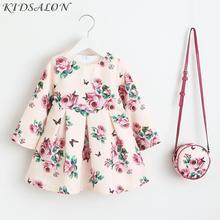Robe de fête licorne pour filles, motif princesse avec sac, motif floral, motif 2018