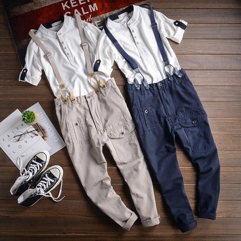 2020 Male Fashion Jumpsuits Pencil Pants Spring Summer Overalls Straight Slim Fit Casual Mens Korean Jumpsuit Cargo Harem Pant