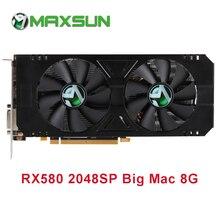 Видеокарта MAXSUN RX 580 2048SP Big Mac, графическая карта 8 Гб GDDR5, 256 бит, AMD 7000 МГц, 1168 МГц 1284 МГц, HDMI+DP*3+DVI, видеокарта RX580