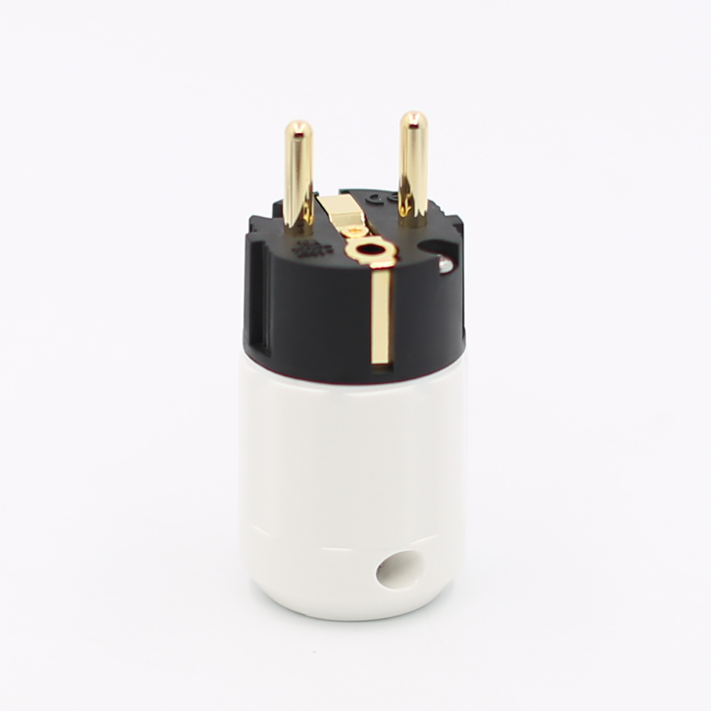 2Pieces 24K Gold Plated Schuko Male Plug HIFI EU Power Plug HIFI
