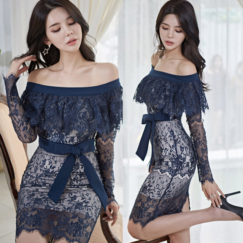 Lace Formal Dress Women Sexy Off Shoulder Full Sleeve Cocktail Dress Blue Bodycon 2020 Summer Dress With Bow Tie Vestidos Coctel