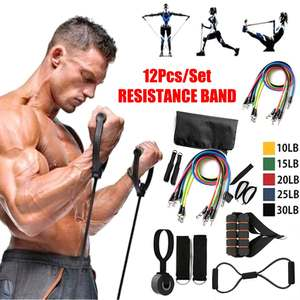 Pull-Rope Exercise Fitness 12pcs Band Expander Tubes Resistance-Bands-Set Rubber Stretch