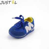 JUSTSL Spring Children's Light Fashion Sneakers LED Sport Toddler Shoes Kids Mesh M Alphabet Casual Shoes For Girls Boys