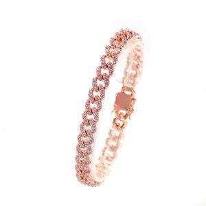 Image 4 - UWIN Rose Gold Color Cuban Link Bracelet 9mm Iced Out Pink Cubic Zirconia Men Women Bracelets Fashion Hiphop Jewelry