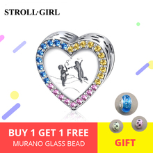 Hot sale 100% 925 Sterling Silver heart Memory Of Childhood Beads Charm with clear CZ fit  Bracelet Fashion DIY Jewelry недорого