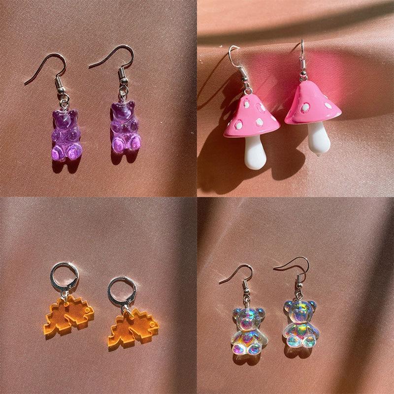 Originality Statement Dinosaur Mushroom Dangle Earring Jelly Polychromatic Bear Drop Earrings 2020 Minimalist Earings for Women
