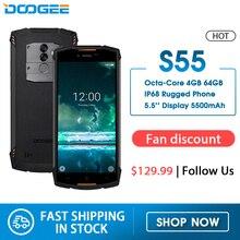 Gerçek IP68 DOOGEE S55 su geçirmez Smartphone 4GB RAM 64GB ROM 5500mAh MTK6750T Octa çekirdek 5.5 inç Android 8.0 çift SIM 13.0MP 4g lte
