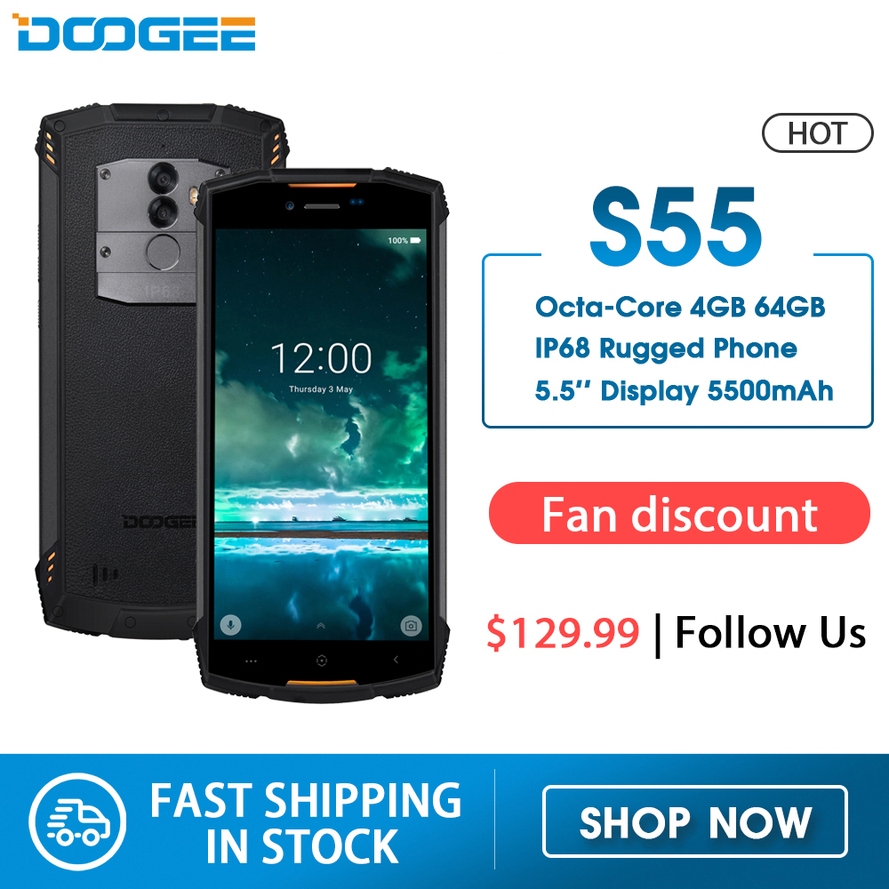Real IP68 DOOGEE S55 waterproof <font><b>Smartphone</b></font> <font><b>4GB</b></font> RAM <font><b>64GB</b></font> ROM 5500mAh MTK6750T Octa Core 5.5inch <font><b>Android</b></font> 8.0 Dual SIM 13.0MP 4GLTE image