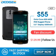 Real IP68 Doogee S55 Waterdichte Smartphone 4 Gb Ram 64 Gb Rom 5500 Mah MTK6750T Octa Core 5.5 Inch Android 8.0 Dual Sim 13.0MP 4 Glte