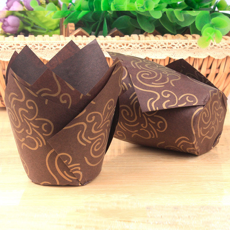 50/100Pcs Tulip Muffin Cupcake Paper Cups Oilproof Cupcake Liner Baking Muffin Box Cup Case Cake Decorating Tool Muffin Wrap