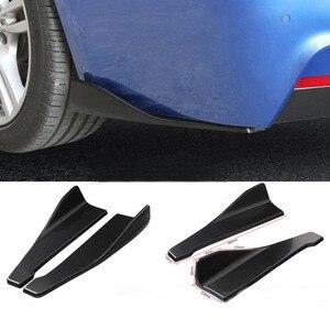 Image 1 - 2Pcs 48cm Carbon Fiber Hinten Bumper Spoiler Canards Diffusor Auto Sideskirts Splitter Kit Anti Scratch Universal Protector winkel