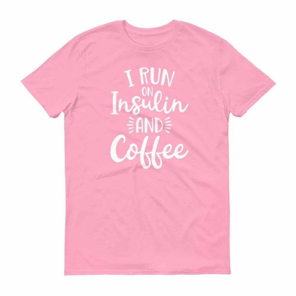 私は上で実行インスリンとコーヒー半袖 Tシャツ女性私は糖尿病教育因果コーヒー恋人原宿おかしいコーヒー tシャツ