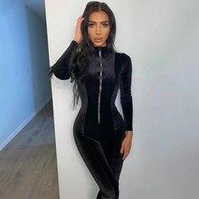 2021 novas mulheres de manga longa magro macacão senhoras outono veludo sexy feminino fino zíper calças de uma peça macacões cor sólida