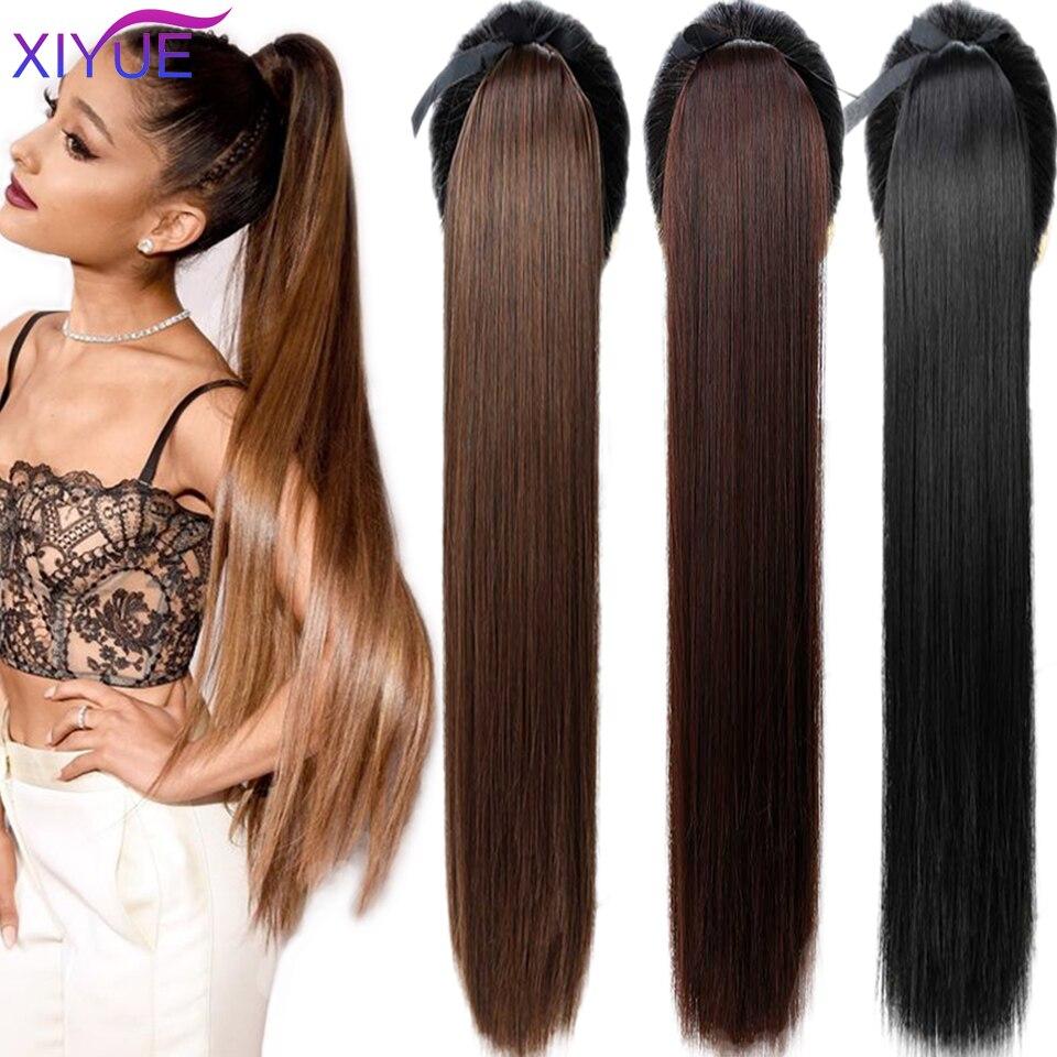 Супердлинные синтетические волосы конского хвоста, 85 см, термостойкие прямые волосы с хвостом, удлиненные черные и коричневые головные убо...