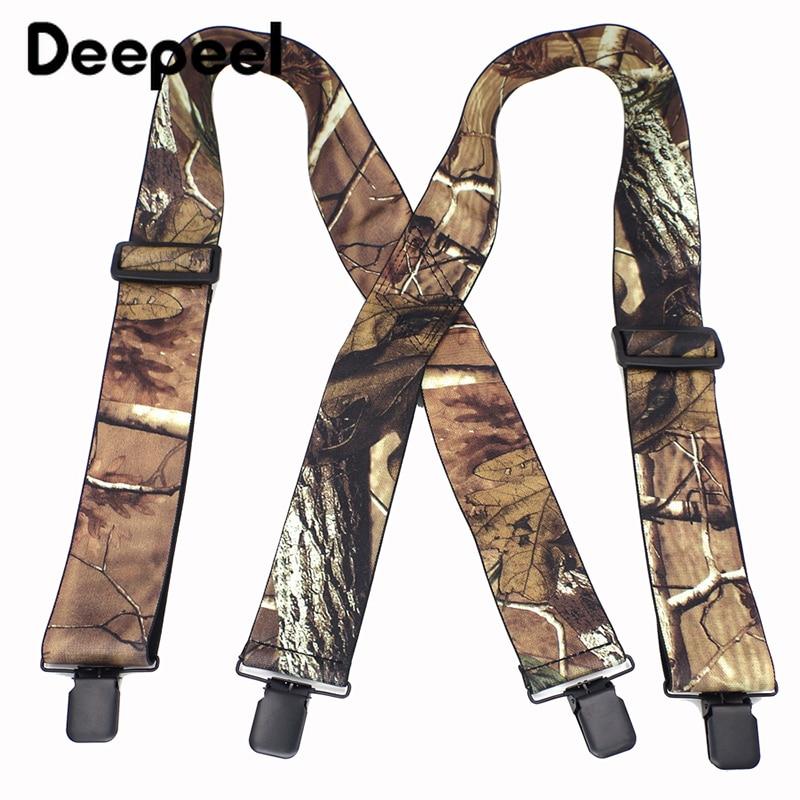 Deepeel 1pc 5*120cm Men 4 Clips Camouflage Suspenders Vintage Outdoor Large Elastic Straps Pants Decoration Suitable Obese SP017