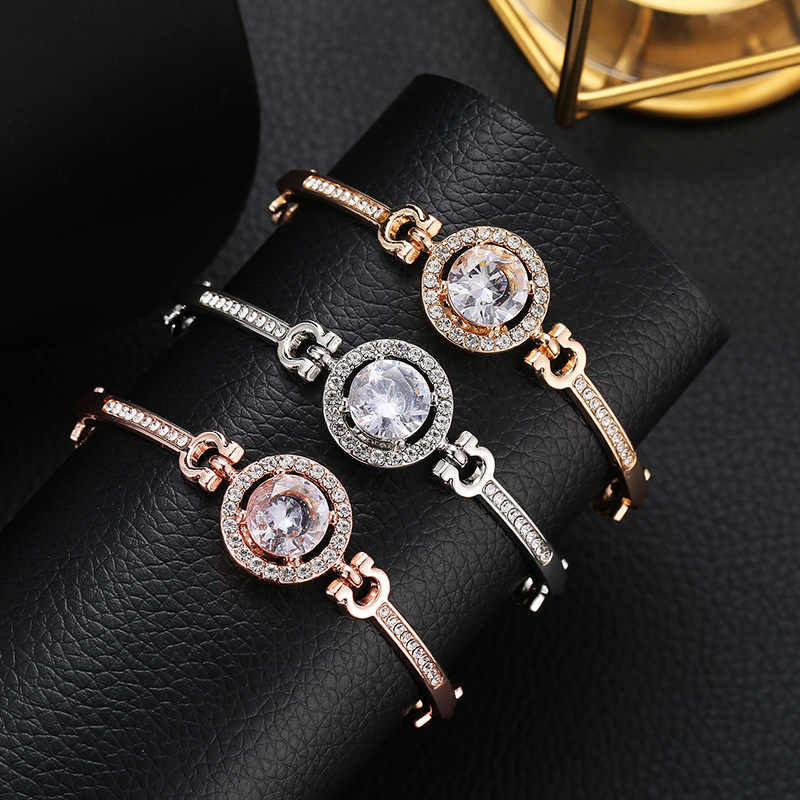 Fashion New Personality Noble Rhinestone Charm Bracelets Golden Silver Rose Gold Married Bracelet Women Fashion Jewelry