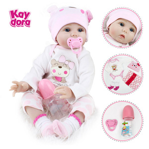 Image 1 - 16/22 אינץ סיליקון Reborn תינוק בובת 40cm בחיים Bebe Menina ממולא לשחק צעצועי Reborn בובות 55cm יום הולדת הפתעה מתנות