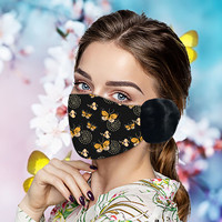 Headband 1PC mascarillas masques Unisex Adult Winter Mask Butterfly Print Warm Hair Ball Hanging Ear Mask Маска máscara бандана#