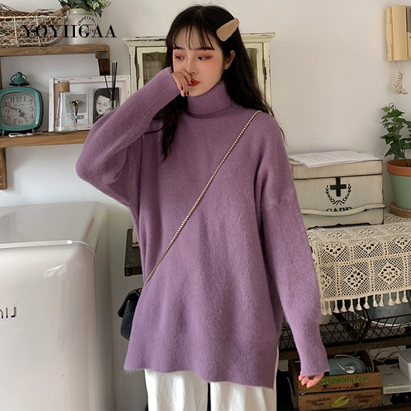 Turtleneck Women Sweaters Autumn Winter Women's Sweater Ladies Long Sleeve Knitted Pullovers Tops Casual Loose Female Sweaters