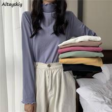 T-shirts Frauen Einfach Alle-spiel Ins College Jugendliche T-shirt Mode Tops Täglichen Herbst Lange Hülse Dünne Weibliche Rollkragen Kleidung neue