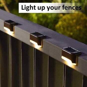 1/4/8/16pcs LED Solar Lamp Path Stair Outdoor Waterproof Wall Light Garden Landscape Step Deck Lights Balcony Fence Solar Lights 1