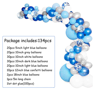 Image 4 - 134pcs Blue Balloon Garland Arch Kit White Grey Blue Confetti Latex Balloons Baby Shower Wedding Birthday Party Decorations
