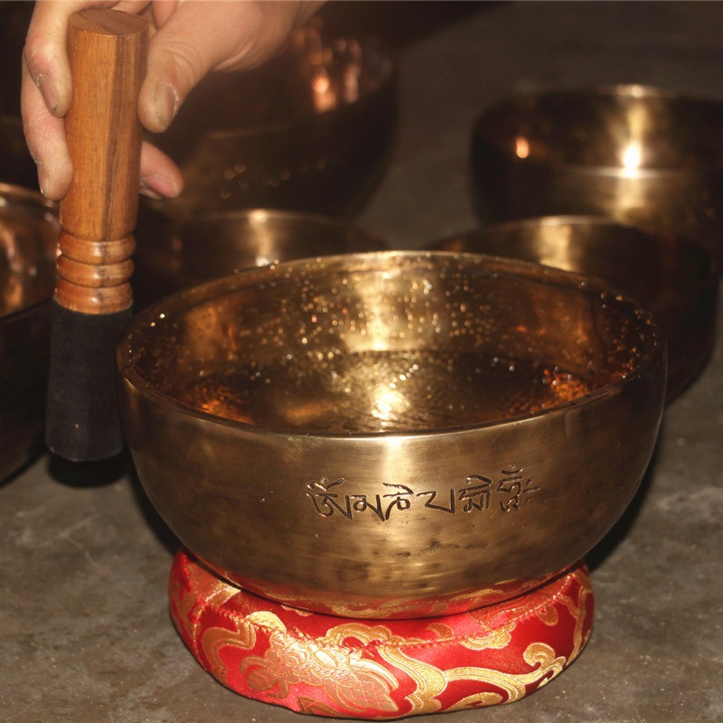 Tibetan Full Moon Singing Bowl Nepal Pure Handmade Professional OM Sound Bronze Bowls Yoga  Therapy Buddha Chakra  Perfect  Gift